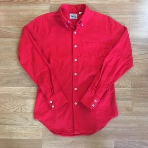 Naked & Famous Red Raw Denim Button Down Shirt - S